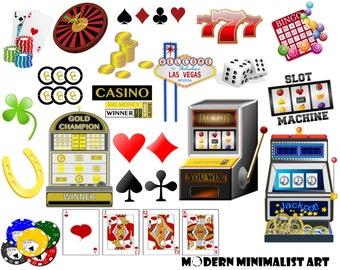 25 PNGS, Casino Clipart, Gambling Clipart, Poker, Slot Machines, Dice, Lucky Number 7, Card Deck, Casino Chips, Las Vegas Clipart, Roulette