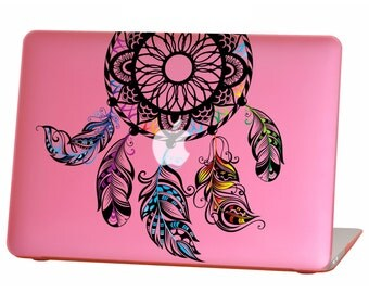 Macbook Air 13 inches Rubberized Hard Case for model A1369 & A1466, AI dream catcher Design with Pink Bottom Case, Come with Keyboard Cover