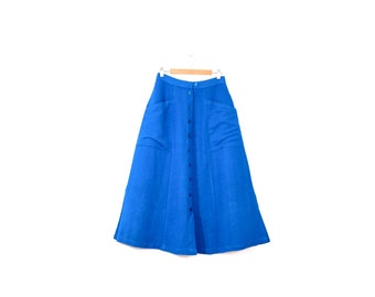 "30% OFF- Use code ""Summersale"" / Vintage A-line linen skirt / Bright blue linen midi skirt / 80s button down pocket skirt"