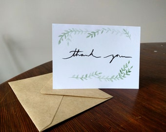 Thank you - water color leaves card