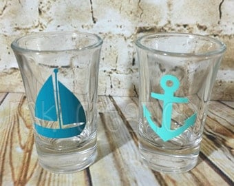 Nautical Shot Glasses, Nautical, sail boat, anchor, shot glass, shot glasses