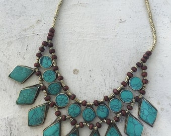 Afghan necklace turquoise stones