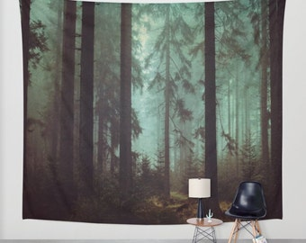 Morning mist,Wanderlust themed Wall Tapestry,Wall Décor,photography,forest tapestry,nature wall hanging,pine forest,home decor,forest decor