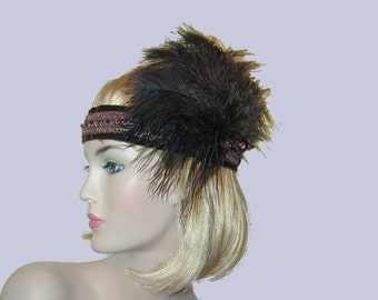 1920's Flapper Gatsby beaded headband with ostich fascinator