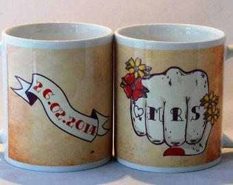 MR & MRS mugs tattoo fist pair customised with date TattooMugLady wedding mugs valentines gift anniversary his and hers gift
