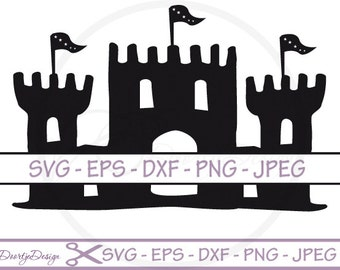 Split monogram castle SVG, Split monogram svg, pdf, eps files, cricut, Castle monogram svg file, Clip Art, cut file, silhouette file DXF