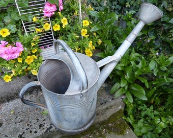 Large Vintage French Galvanized Zinc Watering Can Bucket + Sprinkling Knob Spout, Farmhouse Home Country Living Décor, Rustic Garden Décor