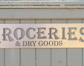 GROCERIES & DRY GOODS metal sign