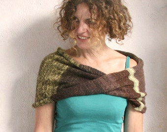 Infinity scarves / Mohair scarf / Chunky stripe scarf / Xmas machine knit shawl / Gift for her / Nursing scarf- Beech Brown