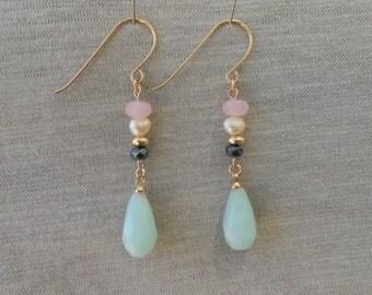 Amazonite earrings, Amazonite drop earrings, Amazonite dangle earrings