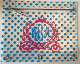 Monogrammed Clear Polka Dot Pencil Pouch in blue