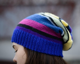 Chunky colorful beanie,  Elegant beanie,  Handmade hat,  Knitted beanie,   Boho hat, Women's beanie,  Winter unique hat, OOAK  Ready to ship