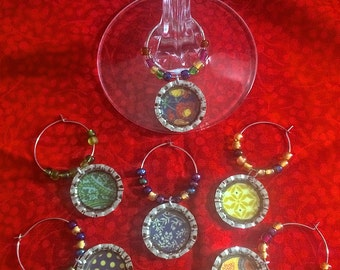 Patterned Wine Glass Charms