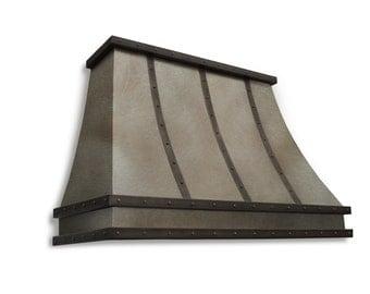 Zinc range hood with decorative molding and straps
