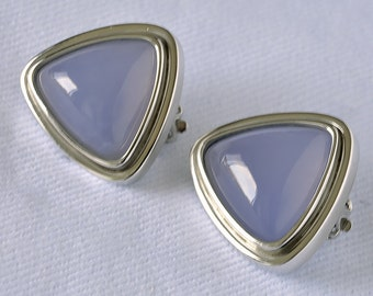 Chalcedony Triangular Earring with White Gold
