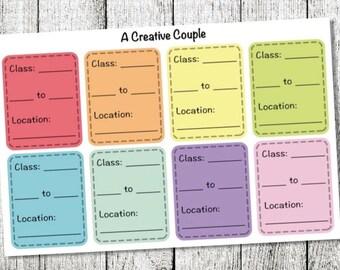 Class Schedule Planner Stickers