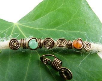 Dreadlocks jewelry set for thin dreads, Rasta beads, Aventurine, agate