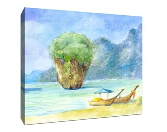 Boats at Beach in Thailand, Tropical Watercolor Gallery-Wrapped Canvas