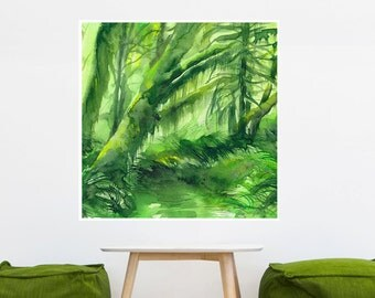 Mossy Forest, Tropical Watercolor Poster