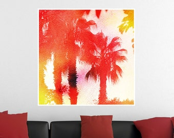 Palm Trees at Sunset, Tropical Watercolor Poster