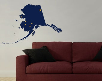 Alaska State Vinyl Wall Decal with the Alaska Flag in the Shape of the State of Alaska