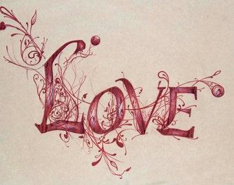 Love Type print