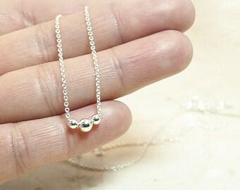 Sterling Silver Tiny Dot Necklace, Tiny Necklace, Minimalist Necklace, Beaded Necklace, Tiny Ball Necklace,