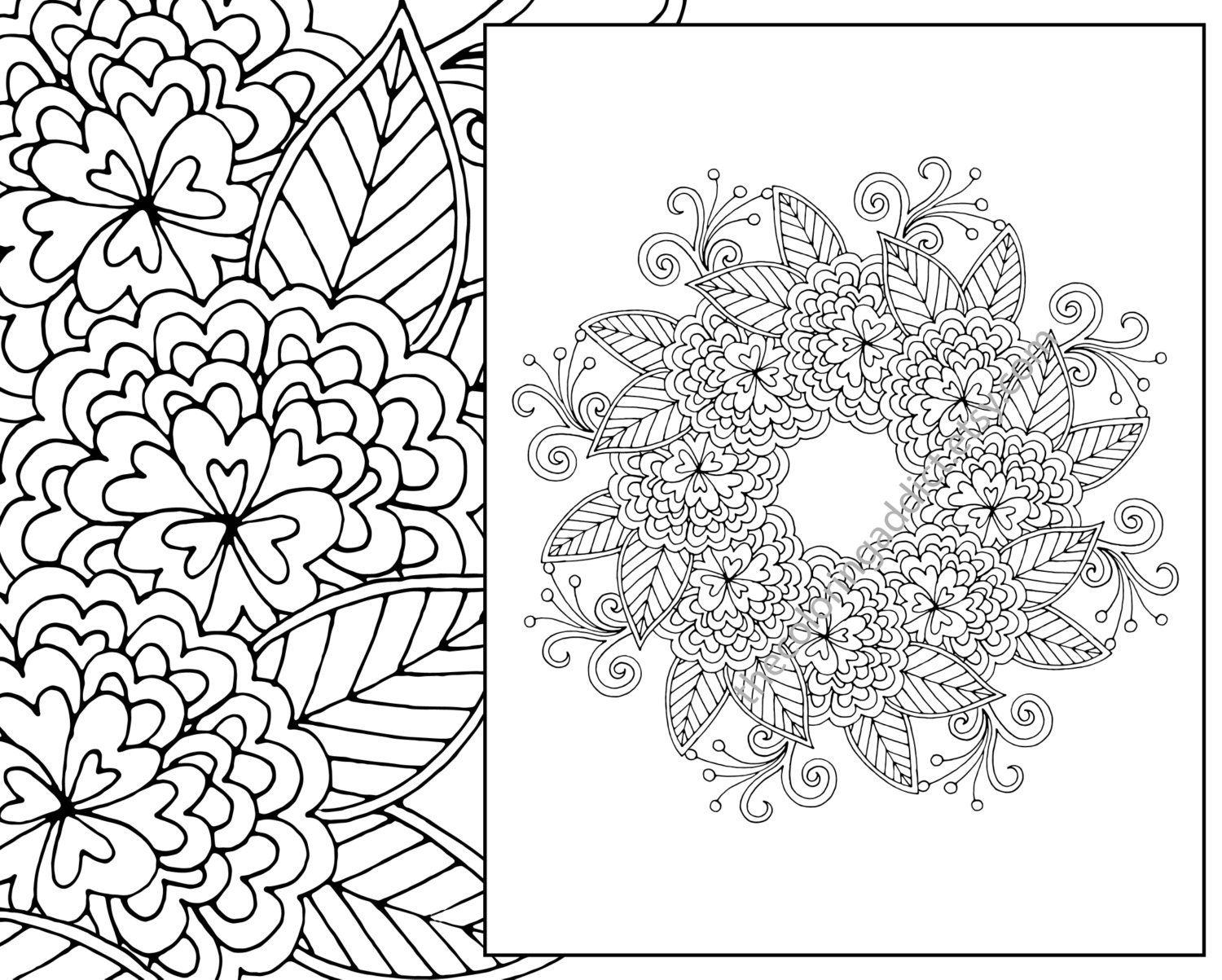 Botanical art coloring book - Floral Coloring Page Adult Coloring Page Digital Flower Mandala Henna Floral Coloring Botanical Coloring Page Flower Colouring Sheet