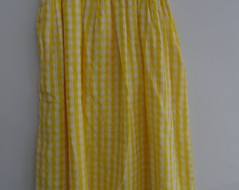 1970's yellow gingham skirt w lace hem and pockets