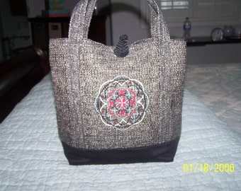 Embroidered Tweed Tote