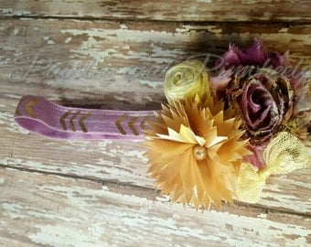 Lavender headband - shabby chic- flower headband- girls headband- baby headband- infant headband- purple headband- gold headband