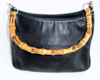 Vintage Valerie Stevens Bamboo Handle Black Leather Shoulder Bag