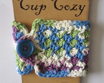 Purple, Blue, and Green Cup Cozy