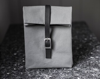 Gray Lunch Bag with Leather Strap & Silver Buckle - Cotton Canvas Food Bag - Men's Bag - Women's Bag - Lunch Box