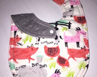 Baby Bib for Girl-Flannel and Minky-Farm Animals-Baby Shower Gift