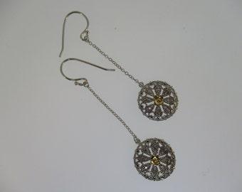 Sterling Silver Hanging Flower Disk Earrings