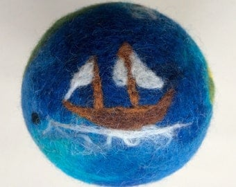 Pirate map needle felted play ball. Soft colourful wool ball. A-Hoy there