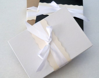 Handkerchief gift box, white kraft or black, meaures 5x7x1.25 inches