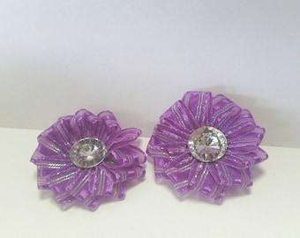 Purple flower set embellishment scrapbooking cardmaking bow making