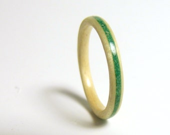 Birch Bentwood Ring Malachite Inlay, wooden promise ring, wooden stack ring