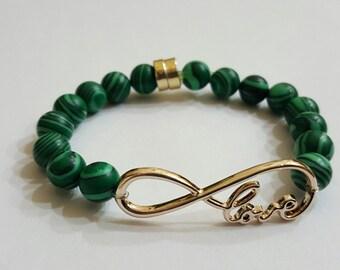 handmade bracelet with green malachite stones