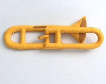 Toy Trombone, Toy Instruments, Felt Toys, Stuffed Instruments, Stuffed Trombone, Felt Trombone, Baby Trombone, Pretend Play, Toddler Toys