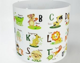 ABC Animals Lampshade ceiling pendant light shade ( Magnetic Set NOT INCLUDED!! if you don't have you will need it) nursery babies kids