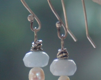 Aquamarine and Pearl drop earrings