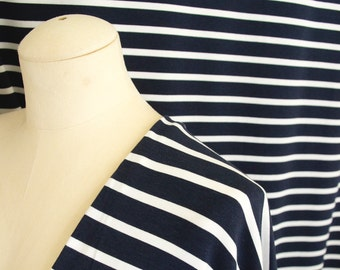 Stripe Cotton Bamboo Jersey Knit Fabric By 1/4 Metre, Navy White, Soft Stretch Fabric, Bamboo Fabric, Knit Jersey Fabric for drapey dress