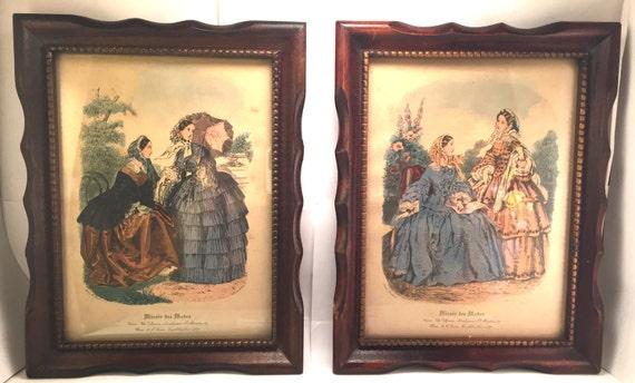 Two victorian fashion reproduction prints miroir des for Miroir des modes prints