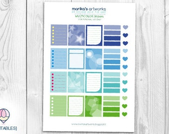 Color Stickers Blue&Green | INSTANT DOWNLOAD |  | Printable file