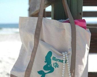 Mermaid Life Beach Bag. Beach bag. mermaid life bag. boat bag. mermaid bag.