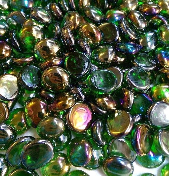 Green irid glass gems stones mosaic pebbles centerpiece