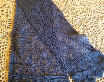 Hand Knit Lacey Wool Scarf